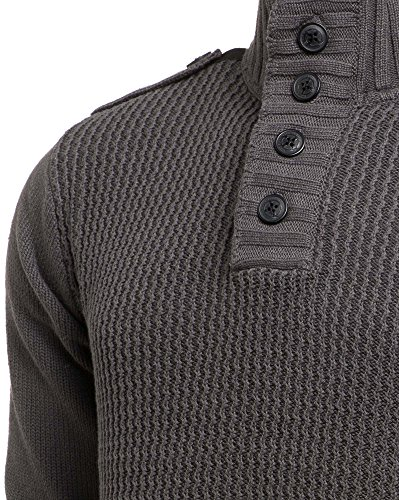 Mzgz - Pull gris double col zippé boutonné Gris