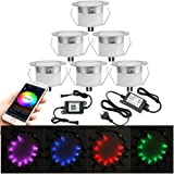 Lot de 6 Bluetooth RGBWW LED Spot Encastrable Extérieur, Ø45mm Dimmable Mini spot Lampe au Sol Spot Encastrable, Etanche IP67