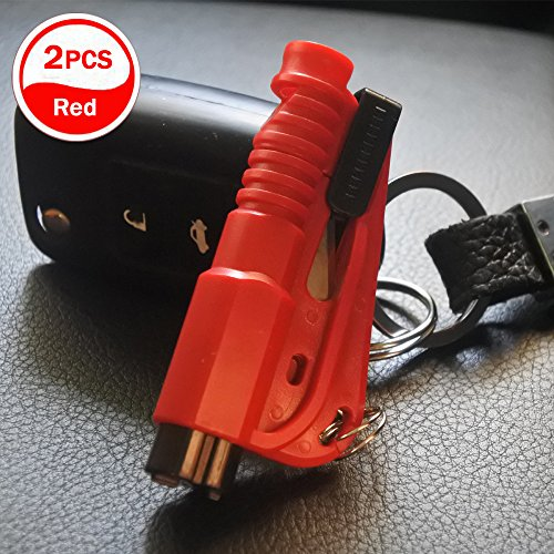 [2 stücke] Auto Notfall Flucht Fensterheber Sicherheitsgurt Schneidwerkzeug Schlüsselanhänger (rot)
