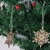 NUOLUX Wooden Snowflake Hanging Ornament Christmas Tree Decorations with String 10pcs