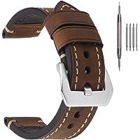 EACHE Cinturini per orologi da uomo in pelle spessa, cinturini per orologi in pelle cerata a olio/cavallo pazzo 20mm…