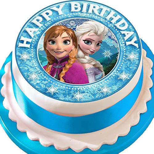 Frozen Pretty Anna und Elsa Birthday vorgeschnittenen Essbarer Zuckerguss Kuchen Topper Dekoration