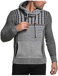 BLZ jeans - Pull gris noir maille torsadé et col fashion