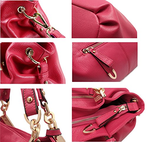 SAIERLONG Nuovo Donna Nero Pelle Bovina Genuina Borse Tracolle Rose Red
