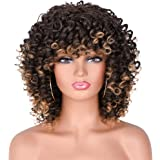 Ombre Blonde Short Afro Curly Wigs with Bangs Blonde Wig with black Roots Synthetic Kinky Curly Hair Wig Afro Heat Resistant