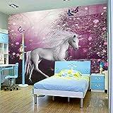 Lqwx Jede Größe Wandbilder 3D-Tapeten Fototapete roll Kinder's Cartoon Pferd Wandbilder 3d Wand Papier Tapete Schlafzimmer Wand-200cmX140cm