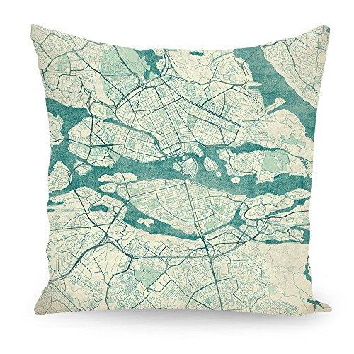 """artboxONE Kissen 30x30 cm Städte Städte / Stockholm Kartografie """"Stockholm, Schweden"""" weiß beidseitig bedrucktes Zierkissen - hochwertiges Designkissen von Hubert Roguski"""
