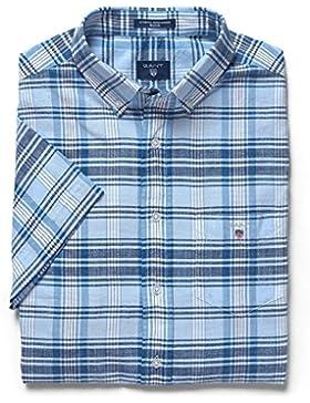Gant Blue Pack Madras Short Sleeved Shirt, Camisa para Hombre