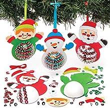 Baker Ross Weihnachtsfiguren Pailletten-Dekorationsset (3 Stück) für Kinder, Weihnachtsbasteln und Dekorationen