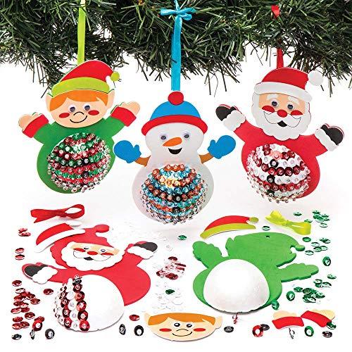 """Baker Ross Bastelset für Deko-Anhänger """"Weihnachtsfiguren"""" mit Pailletten für Kinder – für weihnachtliche Bastelarbeiten und Dekorationen (3 Stück)"""