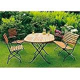 Garnitur SCHLOSSGARTEN 4 teilig klappbar, Flachstahl schwarz + Eukalyptus, FSC®-zertifiziert Gartengarnitur Gartenmöbel