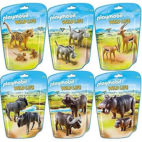 PLAYMOBIL® Fauna de África Set 6 partes 6940 6941 6942 6943 6944 6945 leopardo con bebés + facóqueros + gacelas + ñus + ante + hipopótamo con