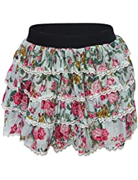 Ladies Womens Girls Floral Tutu Dance Hen Party Short Mini Elasticated Skirt (UK Size L/XL, IceBlue)