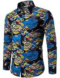 bb7178219e Allthemen - Camisa Casual - Button Down - Cachemir - Cuello ópera - Manga  Larga - para Hombre Azul Folding…