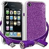 Seluxion - Housse Etui Coque Paillette violet pour Apple iPhone 3G/3GS + chargeur auto + film