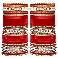 Lucky Jewellery Red Acrylic Punjabi Choora/Bangle Set For Women ,Size Of 2.6