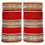 Lucky Jewellery Red Acrylic Bridal Punjabi Choora Set For Women