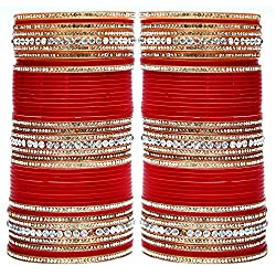 Lucky Jewellery Red Bridal Punjabi Choora, Wedding Chudas Set Size Of 2.4
