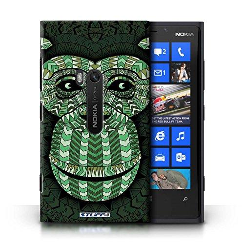 Coque en plastique pour Nokia Lumia 920 Collection Motif Animaux Aztec - Loup-Pourpre Singe-Vert