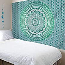 Multi-colored Mandala Tapestry Indian Wall Hanging, Bedsheet, Coverlet Picnic Beach Sheet , Superior Quality Hippie Wall Tapestry or Bedspread in Organic Cotton LMMVP (148X210CM/59''X83'', Verde)