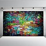 Mehofoto Graffiti Brick Wall Photo Backdrop 7x5ft Vinyl Background Vintage Colorful Brick Wall Backdrops for Photography Studio Props