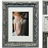 WOLTU #167 Bilderrahmen , Foto Collage , Holz Rahmen , Pappe Rückseite , Glas Vorderseite , zum Aufstellen und Aufhängen im Querformat und Hochformat , Barock design , Dunkelgrau (20x30 cm)