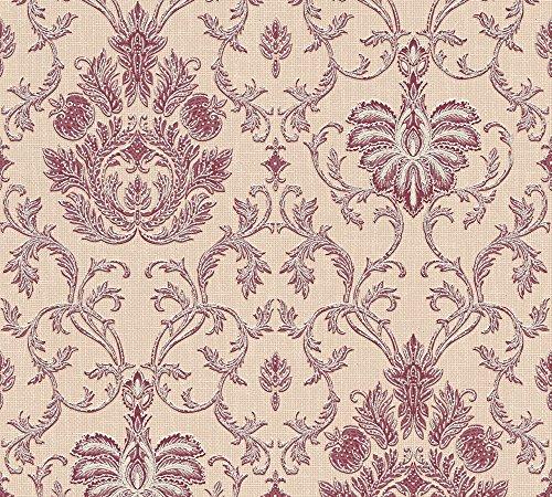 A.S. Création Strukturprofiltapete Belle Epoque Tapete mit Ornamenten barock 10,05 m x 0,53 m beige metallic rot Made in Germany 339041 3390-41