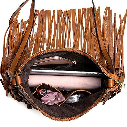 UTO Borsa a Tracolla Donna Lo stile della Boemia Nappe per Vacanze estive La spiaggia borsa con PU Pelle Sintetica Marrone