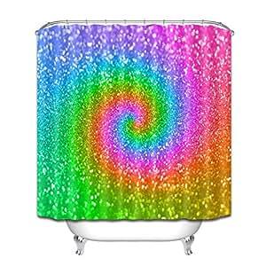 LB Glitter Dekor Duschvorhang,Glitzer Im Bunten Licht Anti Schimmel  Wasserdichtes Gesundes Polyester