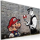 murando - Bilder 120x80 cm - Leinwandbilder - Fertig Aufgespannt - Vlies Leinwand - 3 Teilig - Wandbilder XXL - Kunstdrucke - Wandbild - Banksy Mario Street Art h-B-0080-b-e