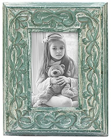 SouvNear 4x6 inch Photo Picture Frame - Shabby Chic Hand-Carved Decorative Vintage-Look Green Stylish Mango Wood Photo Frame with Stand - Decorative Distressed Finish for Living Room / Table-top