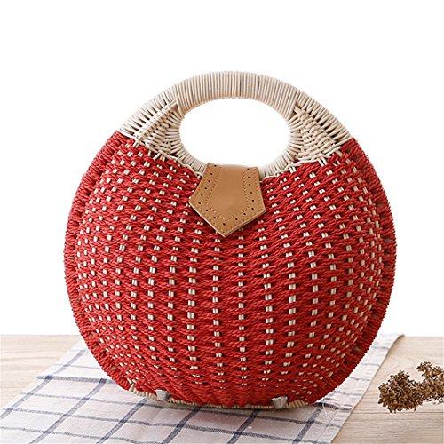 Stil Shell Stroh Handtasche Personalisierte Schöne Rattan Weben Tasche Woven Frauen natürliche Korb Totes Casual Bag (Rattan Weben Körbe)