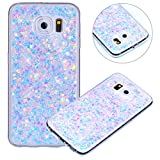 Coque pour Samsung Galaxy S6 Edge,Paillette Coque pour Galaxy S6 Edge,Surakey Bling Brillant Cristal Glitter Diamant strass Coque Silicone Étui Ultra Mince Housse pour Samsung Galaxy S6 Edge Coque de Protection en TPU avec Absorption de Choc Bumper et Anti-Scratch Etui Premium Semi Hybrid Crystal Clear Flex Soft Skin Souple Coque Etui en Silicone Téléphone Couverture TPU Cover Coque Housse Étui pour Samsung Galaxy S6 Edge - Violet