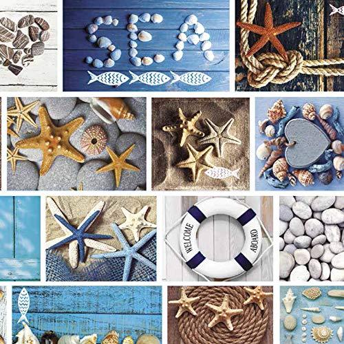Mambo-Design Wachstuch Marina Blau · Eckig 100x160 cm ·Länge & Breite wählbar· abwaschbare Tischdecke 0219 -