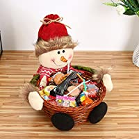 AMhomely Christmas Decorations Sale, Christmas Candy Storage Basket Decoration Santa Claus Storage Basket Gift Merry Christmas Decorative Xmas Decor Ornaments Party Decor Gifts for Kids and Adults