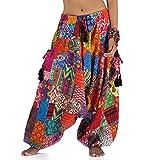 Weite patchwork Hippie Hose Haremshose Aladinhose Pumphose für Damen & Herren 36 38 40 42 S M