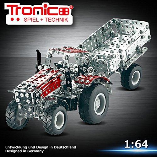 Preisvergleich Produktbild Tronico Metallbaukasten, Traktor mit Anhänger, Case IH Magnum,Traktor, ca. 570 Teile, Freilauf, 1:64, 4-farbig bebilderte Aufbauanleitung, inklusive Werkzeug, Micro Serie, ab 12 Jahren, rcee