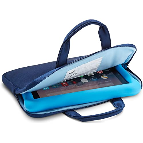 NuPro Custodia con cerniera per tablet Fire 7 Kids Edition e Fire HD 8 Kids Edition, Blu navy/Blu