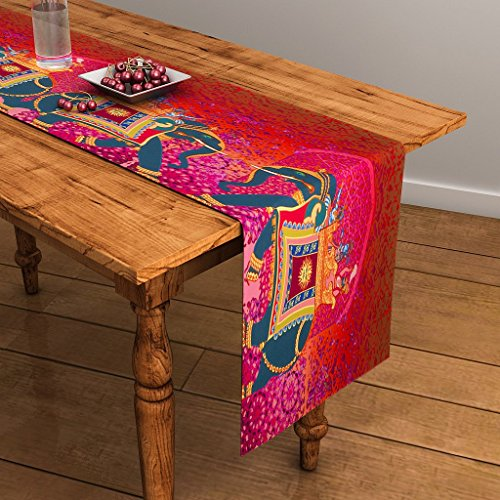 SEJ Abstract Orange HD Digital Premium 12 by 47 inches Table Runner