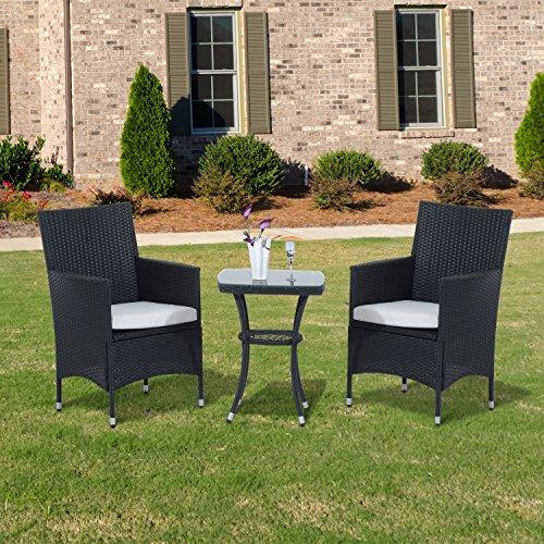 Outsunny, Rattan-Bistromöbel-Set für den Garten, 3 Teile für Terrasse, geflochtenes Set aus Tisch und Stuhl, für den Wintergarten, schwarz