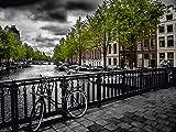 Artland QualitätsbilderAlu Dibond Bilder Alu Art 80 x 60 cm Städte Niederlande Amsterdam Foto Grau A8CZ Amsterdam Keizergracht