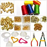 #2: Silk thread jewellery making materials kit with threads,all decoration materials,findings & tools