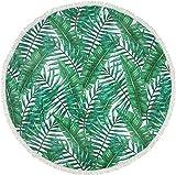 styleBREAKER Rundes Strandtuch mit Palmen Blätter Motiv, Fransen Tuch, Badetuch, Unisex 05050066, Farbe:Grün-Weiß