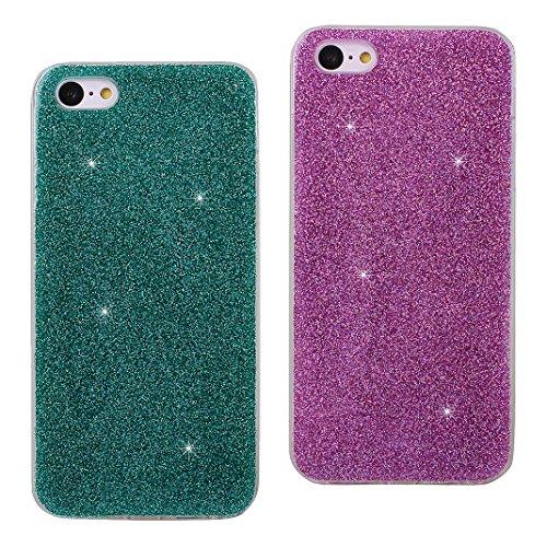 iPhone SE Hülle, Asnlove Premium TPU Silikon Bling Glitzer Schutzhülle für iPhone SE / 5S / 5 Handyhülle Schale Etui Protective Case Cover Design Golden Green/Purple
