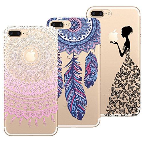 metà fuori ce630 49dd7 Yokata Cover per iPhone 7 Plus/iPhone 8 Plus Custodia Silicone TPU  Trasparente con Disegni Morbida Ultra Sottile Slim Antiurto Protettiva  Cover [3 ...