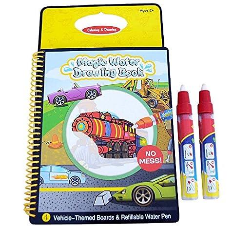 Rangebow magie eau réutilisable dessin carnet et stylo magique pendant 2 ans en plus - véhicules (GC00602)