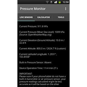 Pressure Monitor - Sensors: Amazon co uk: Appstore for Android