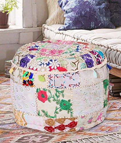 Aakriti Gallery Indian Pouf Fußhocker mit Stickerei Pouf, indische Baumwolle, Pouffe osmanischen Pouf Cover mit ethnischem Dekor Kunst-Cover (18x 13inch) weiß