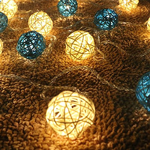 Calcifer® - Guirlande extérieure de boules de rotin de 3 m avec 20 LED - Fil ultra-fin en cuivre - Décoration de mariage, jardin, terrasse, arbre, fête, chambre, Noël White+Blue