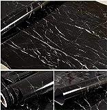Marmor Kontakt Papier für Counter Top Kunstleder schwarz granit Tapete MARMOR Glanz Folie Vinyl selbstklebend Wand Aufkleber Aufkleber herausnehmbares Abziehen und Aufkleben dekorativen 61 x 200cm